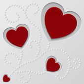 Red paper hearts Valentines day card — Stock Vector