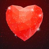 Big Red Shiny Diamond Heart — Stock Vector