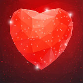 Big Red Shiny Diamond Heart — Stock Vector
