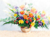 Beautiful spring summer flowers in a glass vase in a living room — Stock Photo