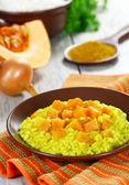 Risotto with pumpkin and karrri — Stock Photo
