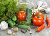 Vegetables and spices on the table for canning — Stock Photo