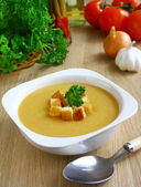 Pea cream soup — Stock Photo