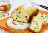 Cake with candied fruit — Stock Photo