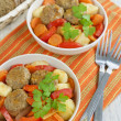 Meatballs with vegetables — Stock Photo