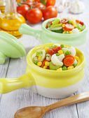 Steamed vegetables in pots — Stock Photo