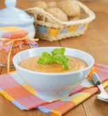 Cream soup red lentils — Stock Photo