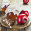 Apples, cinnamon and honey — Stock Photo