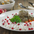 Meatballs with rice in oriental — Stock Photo