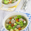 Soup with meatballs and vegetables — Stock Photo #32487961