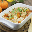 Baked pumpkin with chicken. garlic and herbs — Stock Photo #33918569