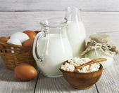 Dairy products and eggs on the table — Stock Photo