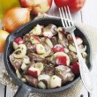 Chicken liver stewed with apples and onion — Stock Photo #39884059