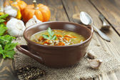 Lentil soup with pumpkin — Stock Photo