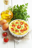 Omelet with vegetables and cheese. Frittata  — Stock Photo