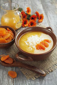 Rice soup with dried apricots — 图库照片