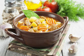 Meat with potatoes and carrots in the bowl  — Stock Photo