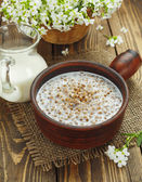 Buckwheat porridge with milk — Stock fotografie