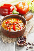 Soup with beans — Stock fotografie