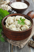 Dumplings with meat — 图库照片