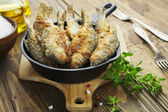 Fried fish in a frying pan  — Foto Stock