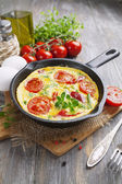 Omelet with vegetables and cheese. Frittata  — Stock fotografie