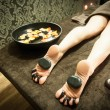 Massage with hot stones — Stock Photo