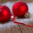 Royalty-Free Stock Photo: Christmas red balls on wooden background