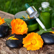 Skin care, serum with orange marigold flowers — Stock Photo