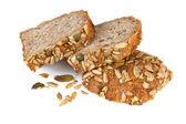 Bread slices on white background — Stock Photo