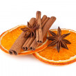 Orange sliced, cinnamon and anise isolated on white background — Stock Photo