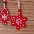 Christmas decoration on wood background — Lizenzfreies Foto