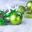 Christmas decoration with green ball — Foto de Stock