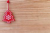 Christmas decoration on wooden background — Stock Photo