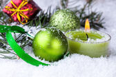 Christmas decoration with green balls — Stock Photo