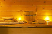Interior of sauna and sauna accessories — Stock Photo