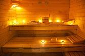 Bir fin saunası ve iç — Stok fotoğraf