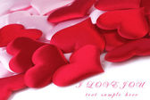 Valentines Day background with red and pink hearts — Stock Photo