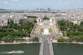 View of river Seine, Trocadero and La Defense from the Eiffel tower. — Stock Photo