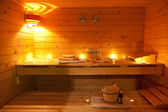 Sauna and sauna accessories — Stock Photo