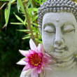 Buddha with Lotus Flower and Bamboo leaves — Stock Photo