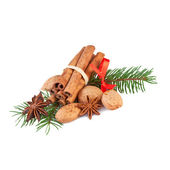 Christmas Decoration with fragrant Spices Isolated on White — Stock Photo