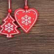 Christmas decoration over wooden background with free space for text — Stock Photo