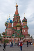 St Basils Cathedral on Red Square on a rainy day — Stock Photo
