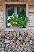 Rural window in a alpine hut — Stock Photo