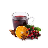 Mulled wine isolated on white — 图库照片