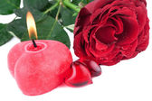 Red Heart with burning Candle — Stock Photo
