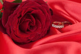 Wedding Rings with red Rose on a Red Silk — Stock Photo