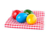 Easter Eggs on a Kitchen Napkin Isolated on White — 图库照片