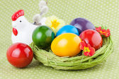 Easter Eggs decorated on a Green Polka Dot Napkin — Zdjęcie stockowe